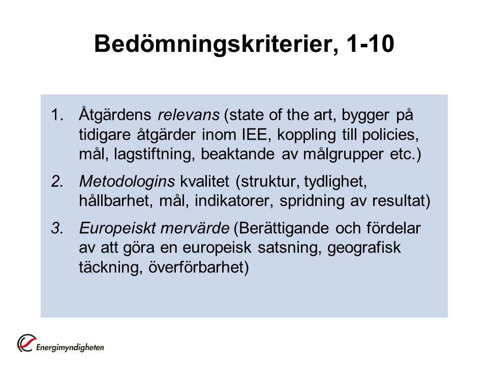 Bedömningskriterier, 1-10 1.Åtgärdens relevans (state of the art, bygger på tidigare åtgärder inom IEE, koppling till policies, mål, lagstiftning, beaktande av målgrupper etc.) 2.Metodologins kvalitet (struktur, tydlighet, hållbarhet, mål, indikatorer, spridning av resultat) 3.Europeiskt mervärde (Berättigande och fördelar av att göra en europeisk satsning, geografisk täckning, överförbarhet)