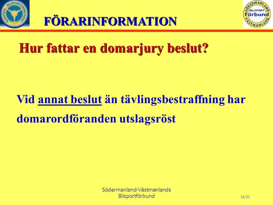 FÖRARINFORMATION Södermanland-Västmanlands Bilsportförbund 16/21 Vid annat beslut än tävlingsbestraffning har domarordföranden utslagsröst Hur fattar en domarjury beslut