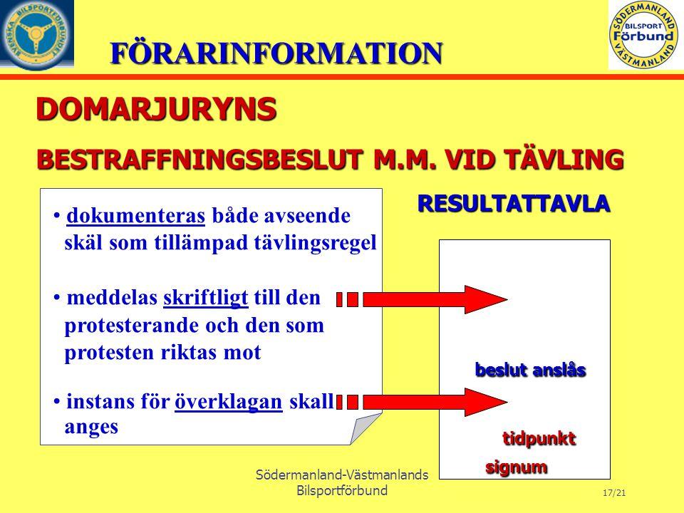FÖRARINFORMATION Södermanland-Västmanlands Bilsportförbund 17/21 BESTRAFFNINGSBESLUT M.M.
