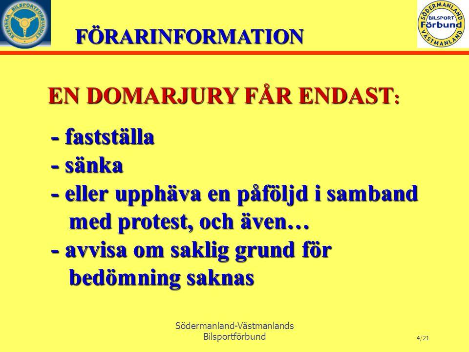 FÖRARINFORMATION Södermanland-Västmanlands Bilsportförbund 4/21 EN DOMARJURY FÅR ENDAST : - fastställa - sänka - eller upphäva en påföljd i samband med protest, och även… med protest, och även… - avvisa om saklig grund för bedömning saknas bedömning saknas