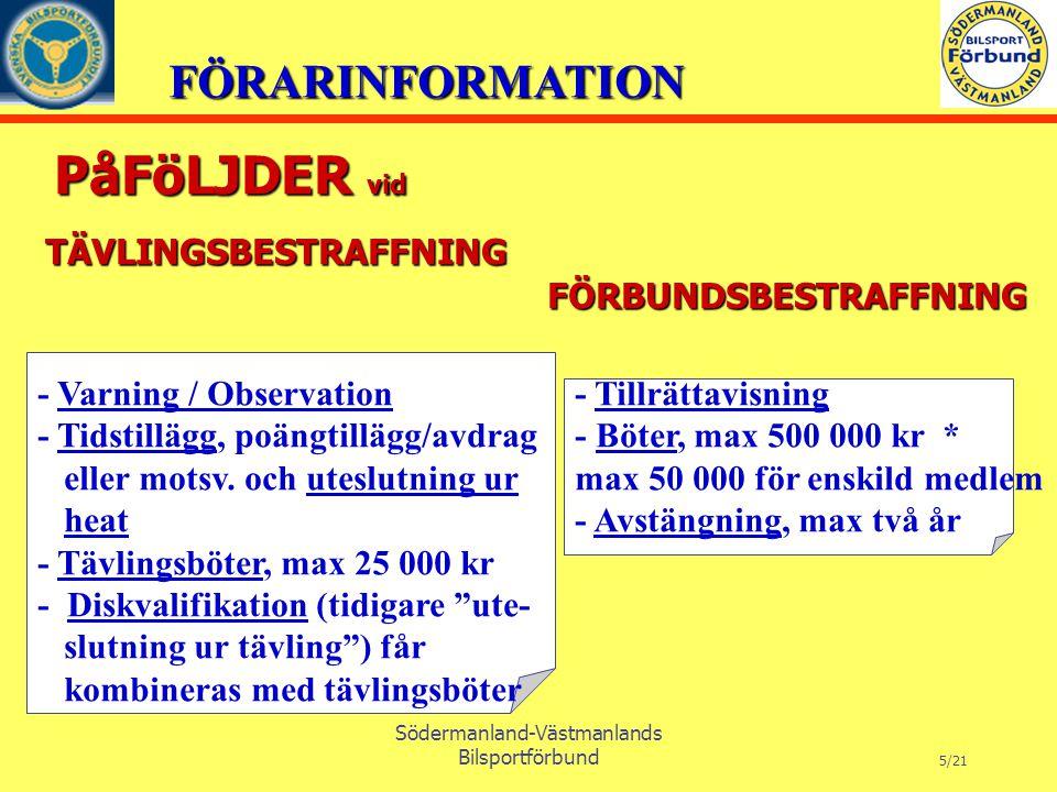 FÖRARINFORMATION Södermanland-Västmanlands Bilsportförbund 5/21 PåFöLJDER vid PåFöLJDER vid - Tillrättavisning - Böter, max 500 000 kr * max 50 000 för enskild medlem - Avstängning, max två år - Varning / Observation - Tidstillägg, poängtillägg/avdrag eller motsv.