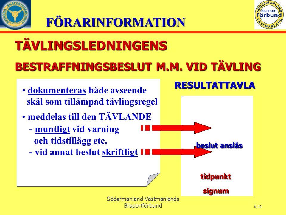 FÖRARINFORMATION Södermanland-Västmanlands Bilsportförbund 6/21 BESTRAFFNINGSBESLUT M.M.
