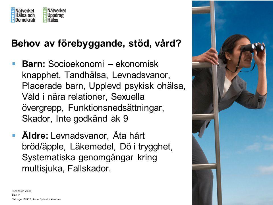28 februari 2009 Blekinge 110412, Anne Bylund Nätverken Sida 14 Behov av förebyggande, stöd, vård?  Barn: Socioekonomi – ekonomisk knapphet, Tandhäls