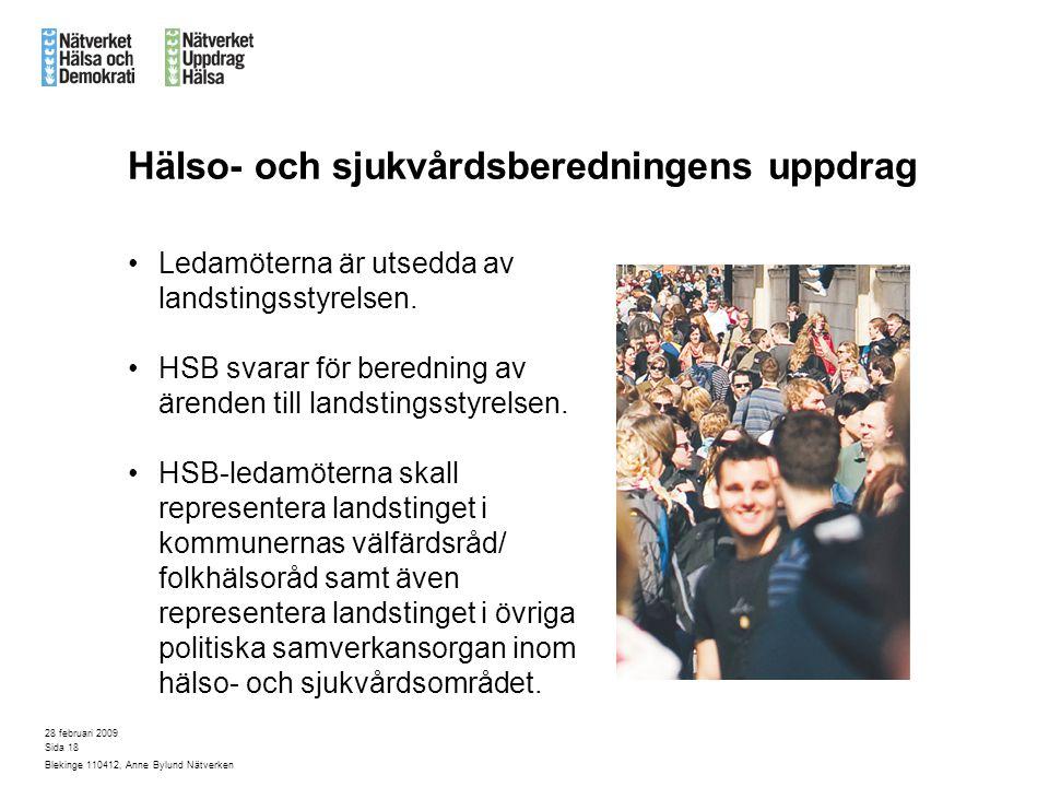 28 februari 2009 Blekinge 110412, Anne Bylund Nätverken Sida 18 Hälso- och sjukvårdsberedningens uppdrag Ledamöterna är utsedda av landstingsstyrelsen.