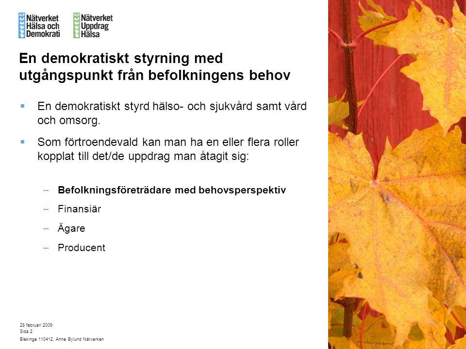28 februari 2009 Blekinge 110412, Anne Bylund Nätverken Sida 2 En demokratiskt styrning med utgångspunkt från befolkningens behov  En demokratiskt styrd hälso- och sjukvård samt vård och omsorg.
