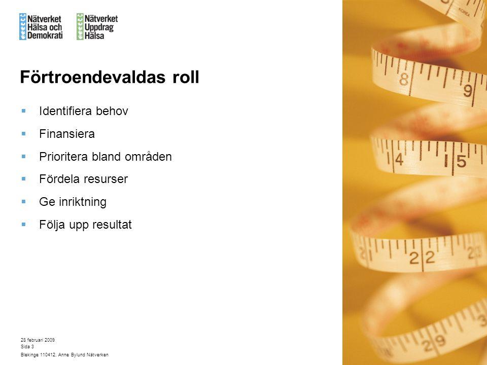 28 februari 2009 Blekinge 110412, Anne Bylund Nätverken Sida 3 Förtroendevaldas roll  Identifiera behov  Finansiera  Prioritera bland områden  Fördela resurser  Ge inriktning  Följa upp resultat