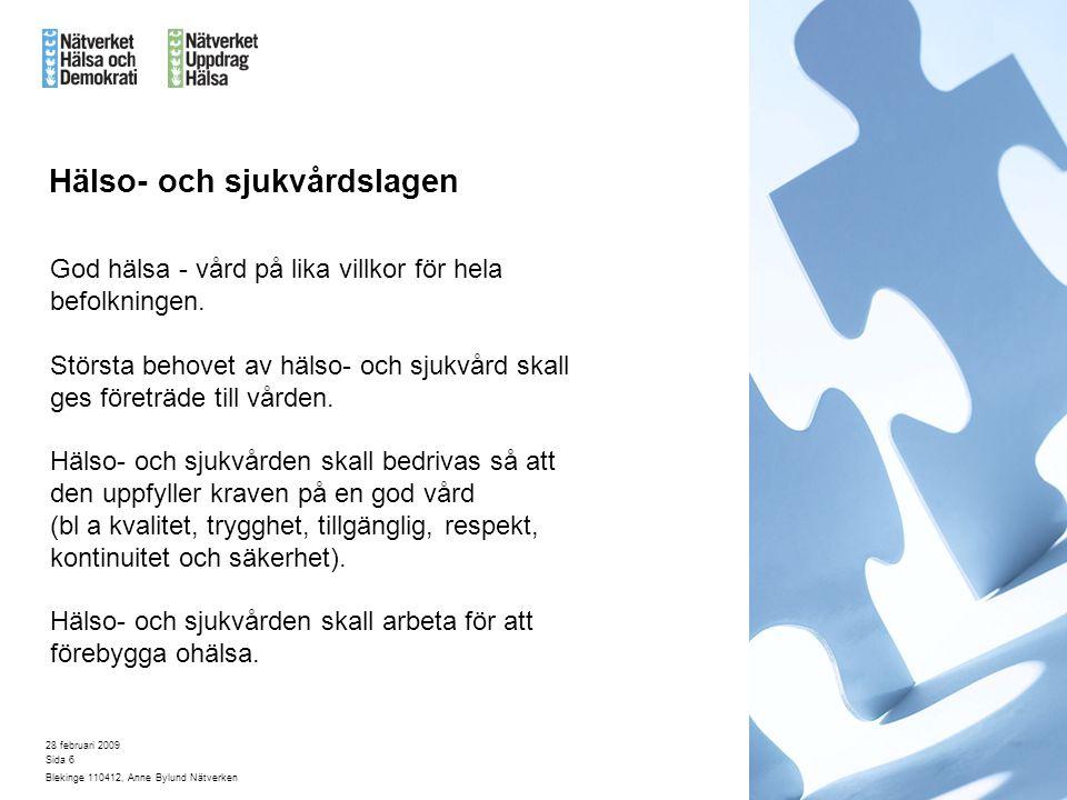 28 februari 2009 Blekinge 110412, Anne Bylund Nätverken Sida 6 Hälso- och sjukvårdslagen God hälsa - vård på lika villkor för hela befolkningen.