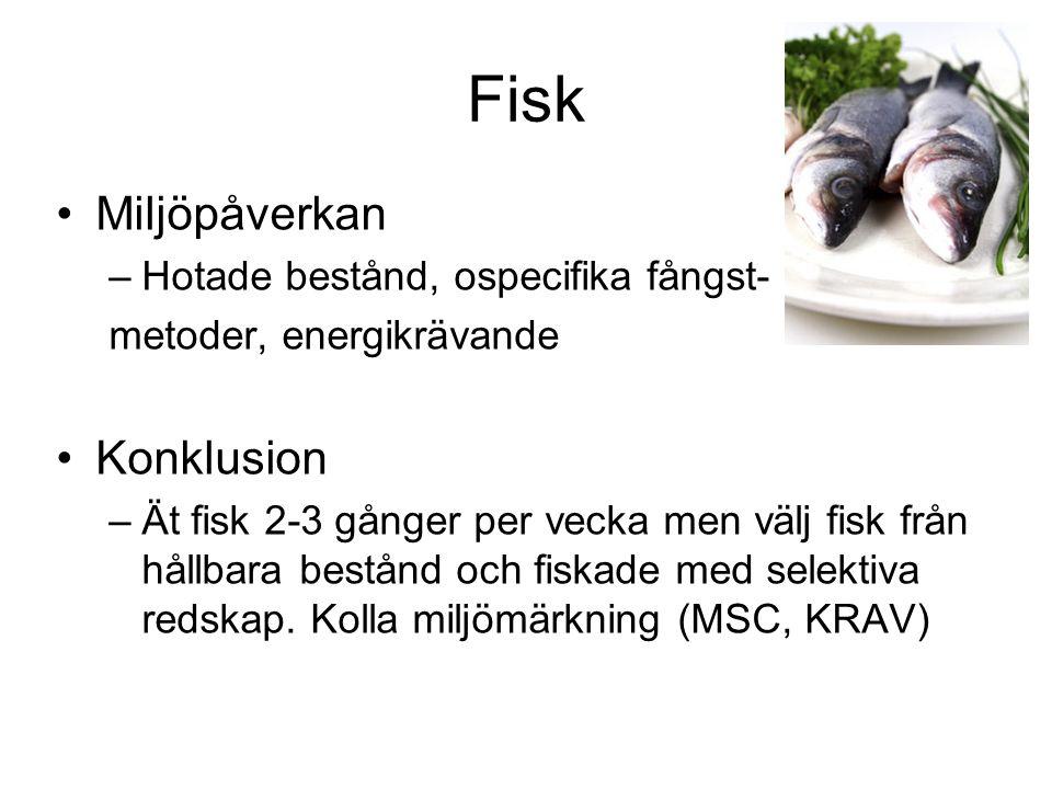 Fisk Miljöpåverkan –Hotade bestånd, ospecifika fångst- metoder, energikrävande Konklusion –Ät fisk 2-3 gånger per vecka men välj fisk från hållbara be