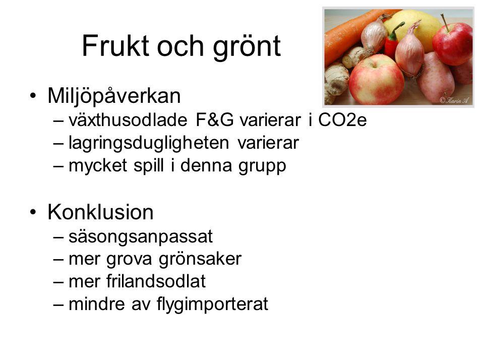 Frukt och grönt Miljöpåverkan –växthusodlade F&G varierar i CO2e –lagringsdugligheten varierar –mycket spill i denna grupp Konklusion –säsongsanpassat