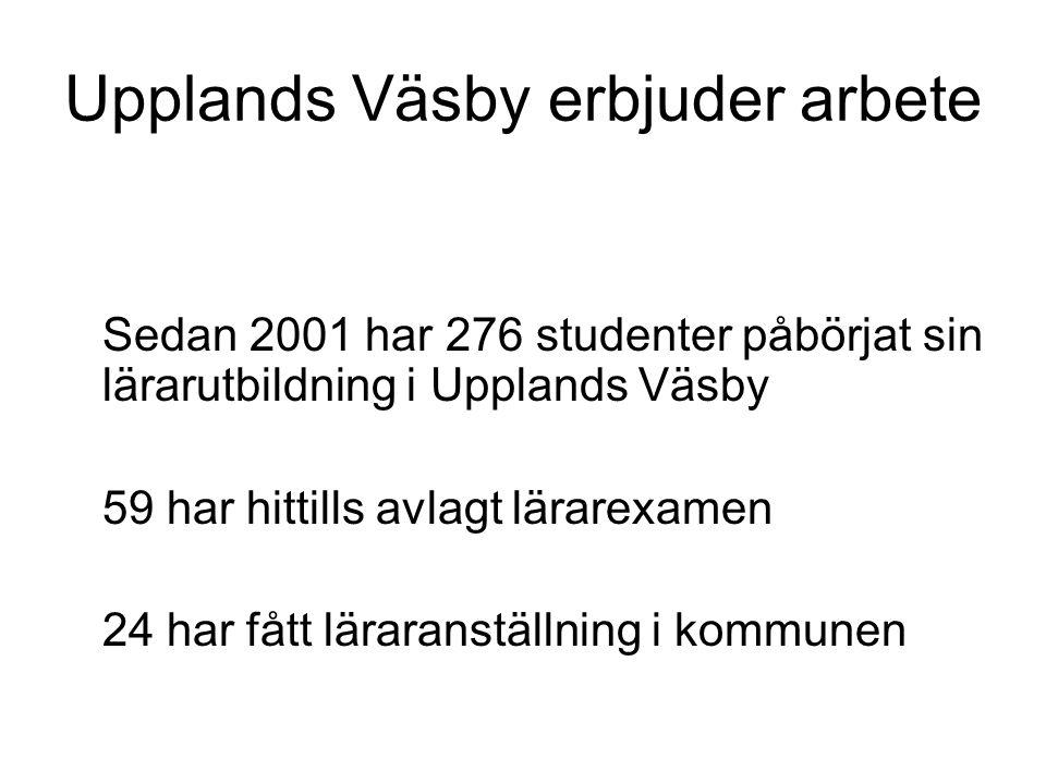 Upplands Väsby erbjuder arbete Sedan 2001 har 276 studenter påbörjat sin lärarutbildning i Upplands Väsby 59 har hittills avlagt lärarexamen 24 har fått läraranställning i kommunen