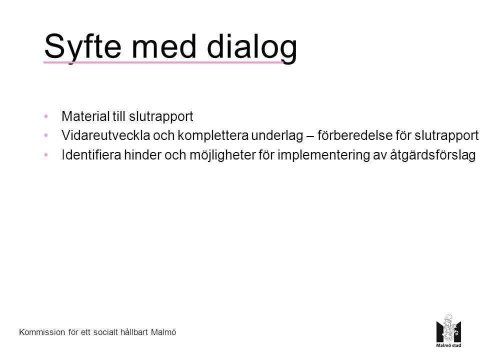 Syfte med dialog Material till slutrapport Vidareutveckla och komplettera underlag – förberedelse för slutrapport Identifiera hinder och möjligheter för implementering av åtgärdsförslag