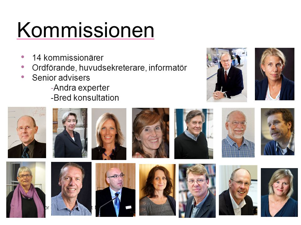 Kommission för ett socialt hållbart Malmö Kommissionen 14 kommissionärer Ordförande, huvudsekreterare, informatör Senior advisers -Andra experter -Bred konsultation