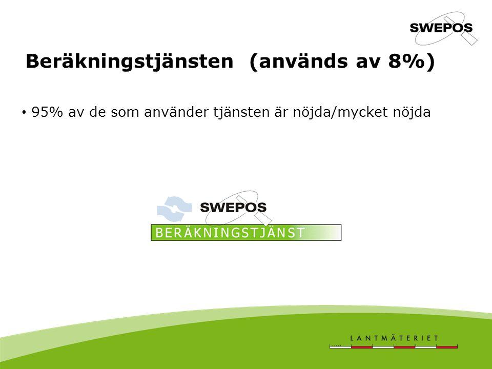 Beräkningstjänsten (används av 8%) 95% av de som använder tjänsten är nöjda/mycket nöjda