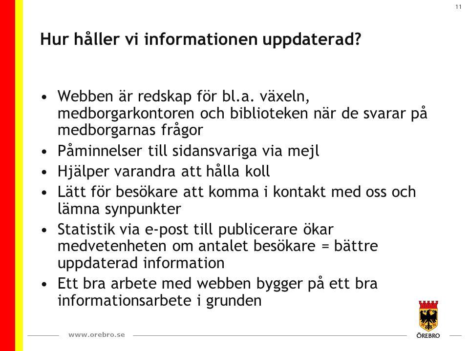 www.orebro.se 11 Hur håller vi informationen uppdaterad? Webben är redskap för bl.a. växeln, medborgarkontoren och biblioteken när de svarar på medbor