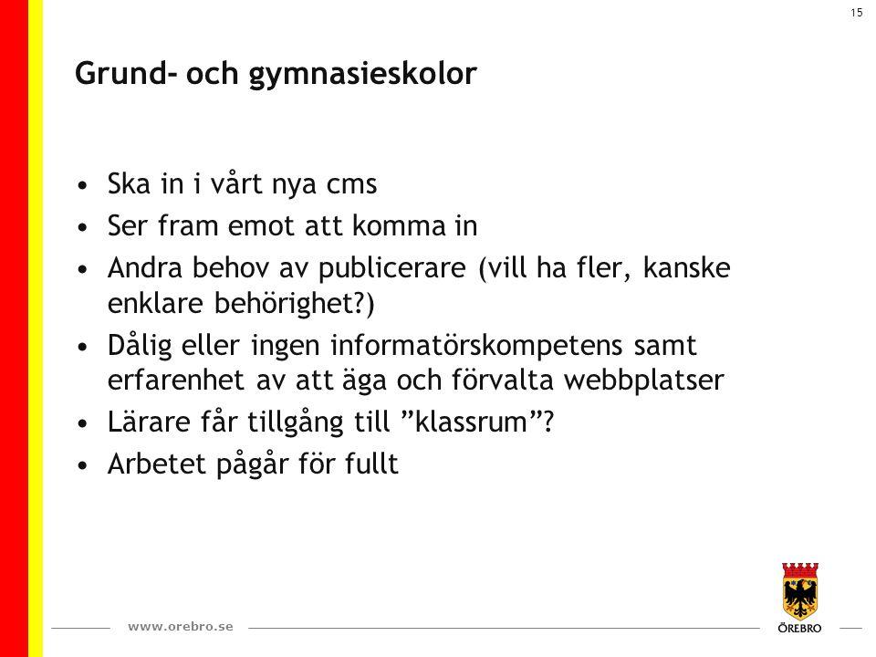 www.orebro.se 15 Grund- och gymnasieskolor Ska in i vårt nya cms Ser fram emot att komma in Andra behov av publicerare (vill ha fler, kanske enklare b