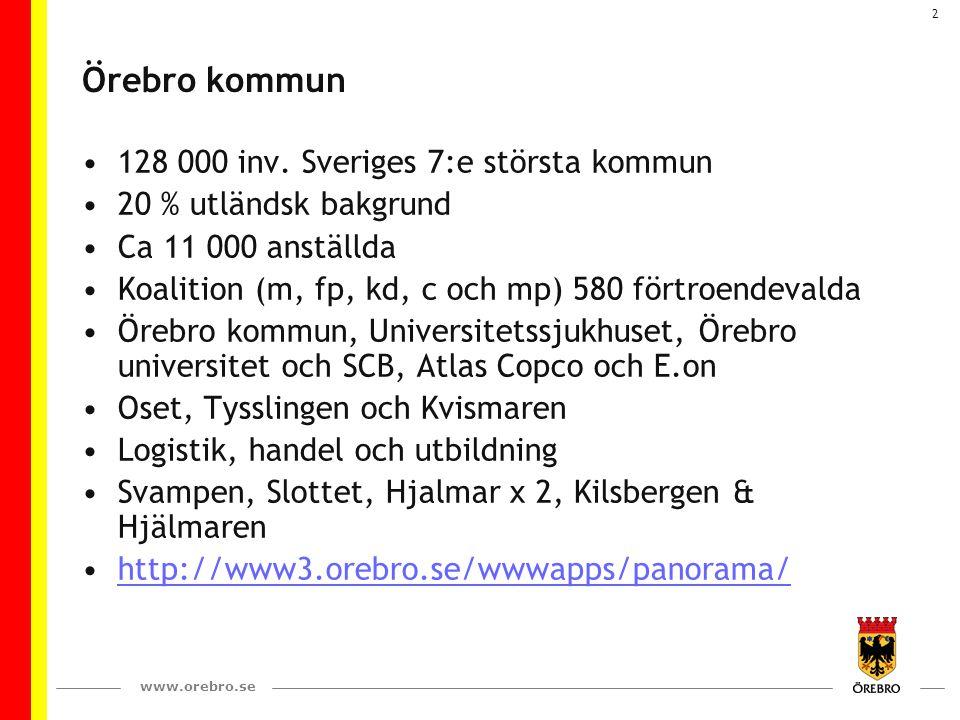 2 Örebro kommun 128 000 inv. Sveriges 7:e största kommun 20 % utländsk bakgrund Ca 11 000 anställda Koalition (m, fp, kd, c och mp) 580 förtroendevald