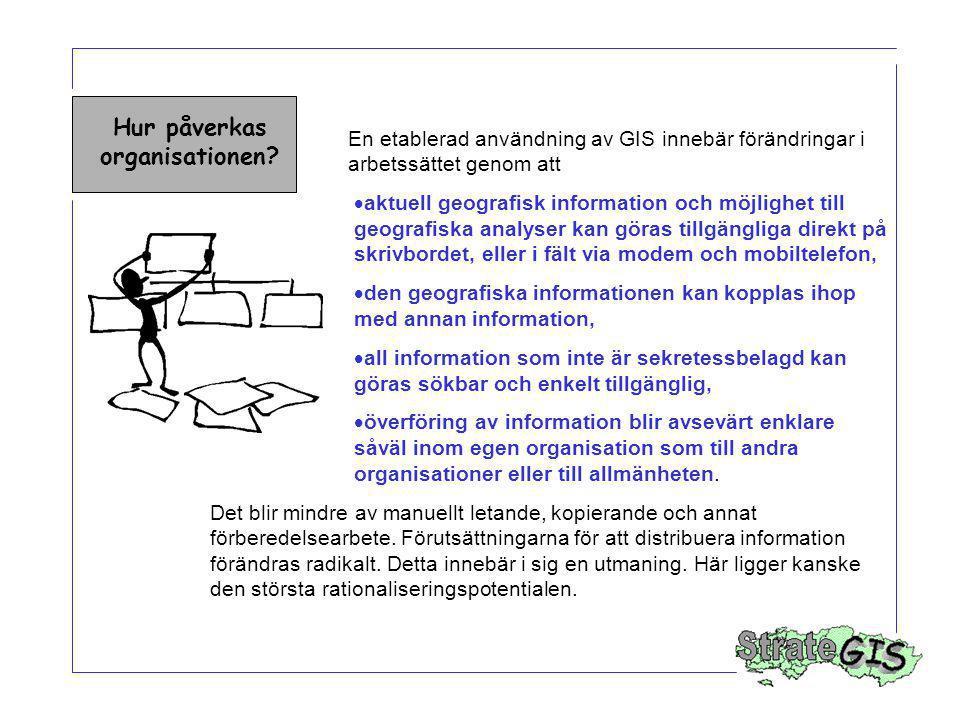 Hur påverkas organisationen? En etablerad användning av GIS innebär förändringar i arbetssättet genom att  aktuell geografisk information och möjligh