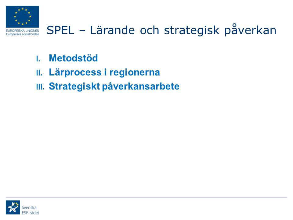 I. Metodstöd II. Lärprocess i regionerna III. Strategiskt påverkansarbete SPEL – Lärande och strategisk påverkan