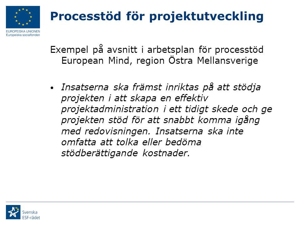 Processtöd för projektutveckling Exempel på avsnitt i arbetsplan för processtöd European Mind, region Östra Mellansverige Insatserna ska främst inrikt