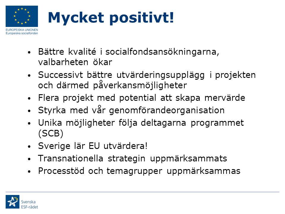 Mycket positivt! Bättre kvalité i socialfondsansökningarna, valbarheten ökar Successivt bättre utvärderingsupplägg i projekten och därmed påverkansmöj