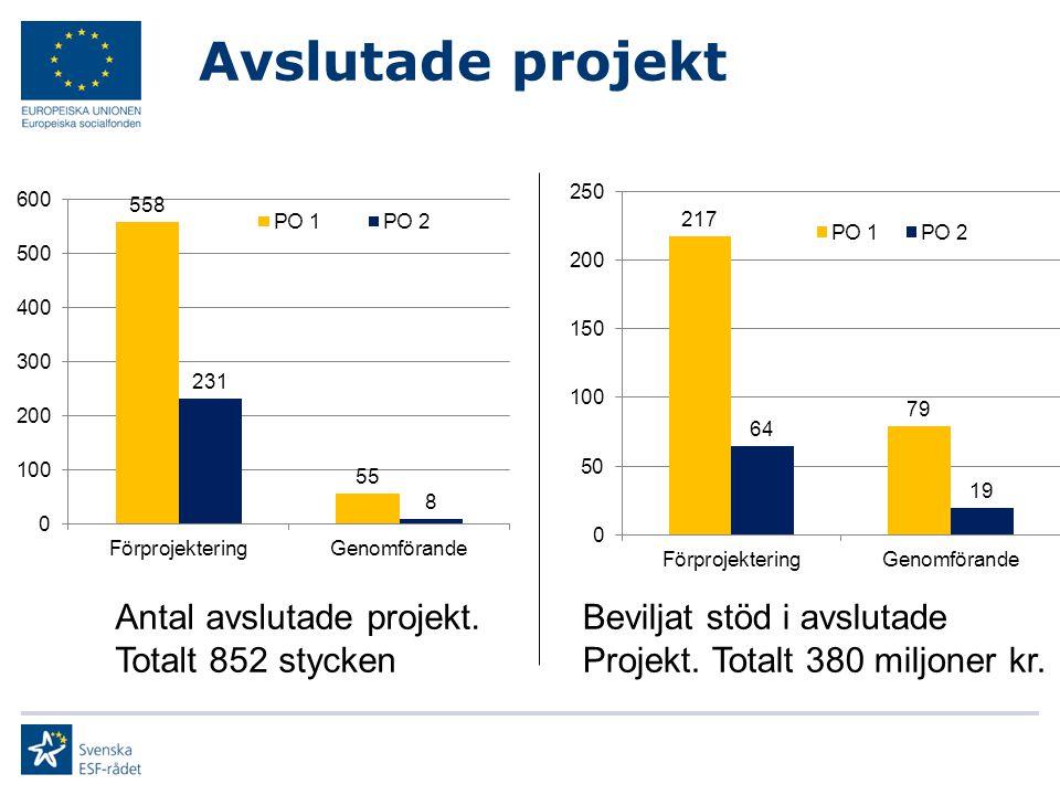 Avslutade projekt Antal avslutade projekt. Totalt 852 stycken Beviljat stöd i avslutade Projekt. Totalt 380 miljoner kr.
