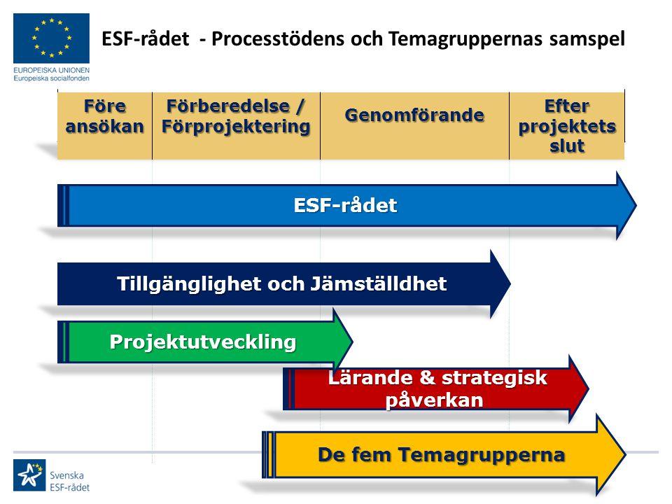 Lärande & strategisk påverkan Lärande & strategisk påverkan ESF-rådet - Processtödens och Temagruppernas samspel De fem Temagrupperna ESF-rådet Projek
