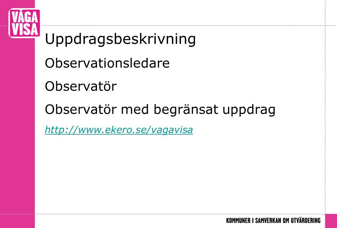 Uppdragsbeskrivning Observationsledare Observatör Observatör med begränsat uppdrag http://www.ekero.se/vagavisa