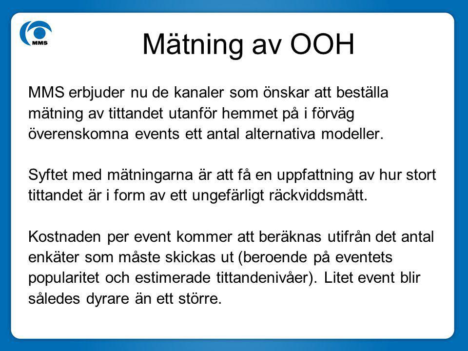 Mätning av OOH MMS erbjuder nu de kanaler som önskar att beställa mätning av tittandet utanför hemmet på i förväg överenskomna events ett antal alternativa modeller.