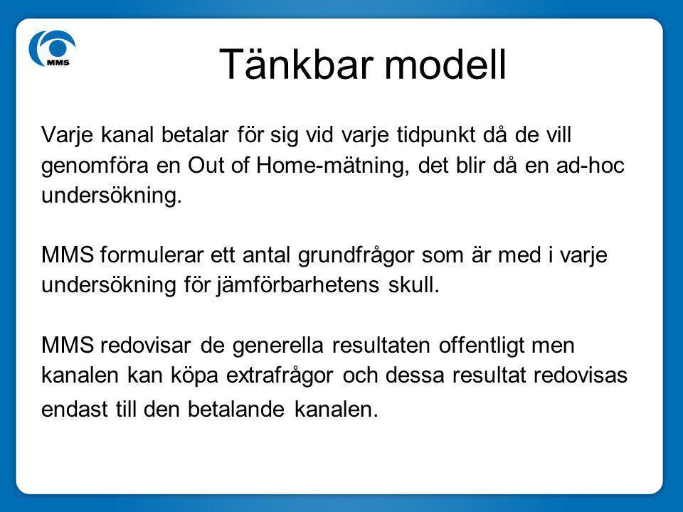 Tänkbar modell Varje kanal betalar för sig vid varje tidpunkt då de vill genomföra en Out of Home-mätning, det blir då en ad-hoc undersökning. MMS for