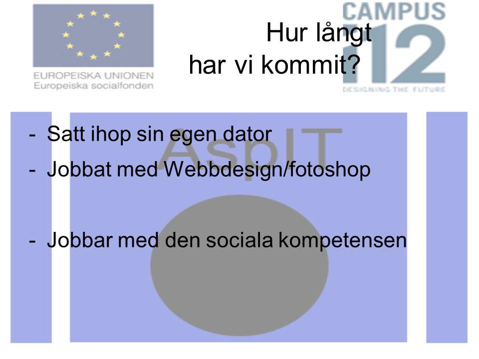 Hur långt har vi kommit? -Satt ihop sin egen dator -Jobbat med Webbdesign/fotoshop -Jobbar med den sociala kompetensen