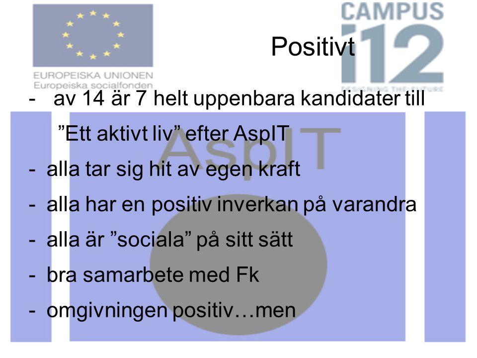 Positivt - av 14 är 7 helt uppenbara kandidater till Ett aktivt liv efter AspIT -alla tar sig hit av egen kraft -alla har en positiv inverkan på varandra -alla är sociala på sitt sätt -bra samarbete med Fk -omgivningen positiv…men