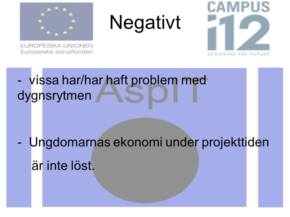 Negativt - vissa har/har haft problem med dygnsrytmen - Ungdomarnas ekonomi under projekttiden är inte löst. I övrigt har många, både föräldrar och ha