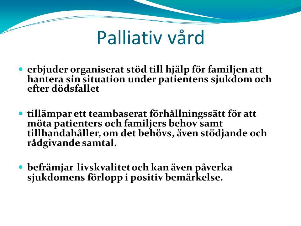 Palliativ vård erbjuder organiserat stöd till hjälp för familjen att hantera sin situation under patientens sjukdom och efter dödsfallet tillämpar ett