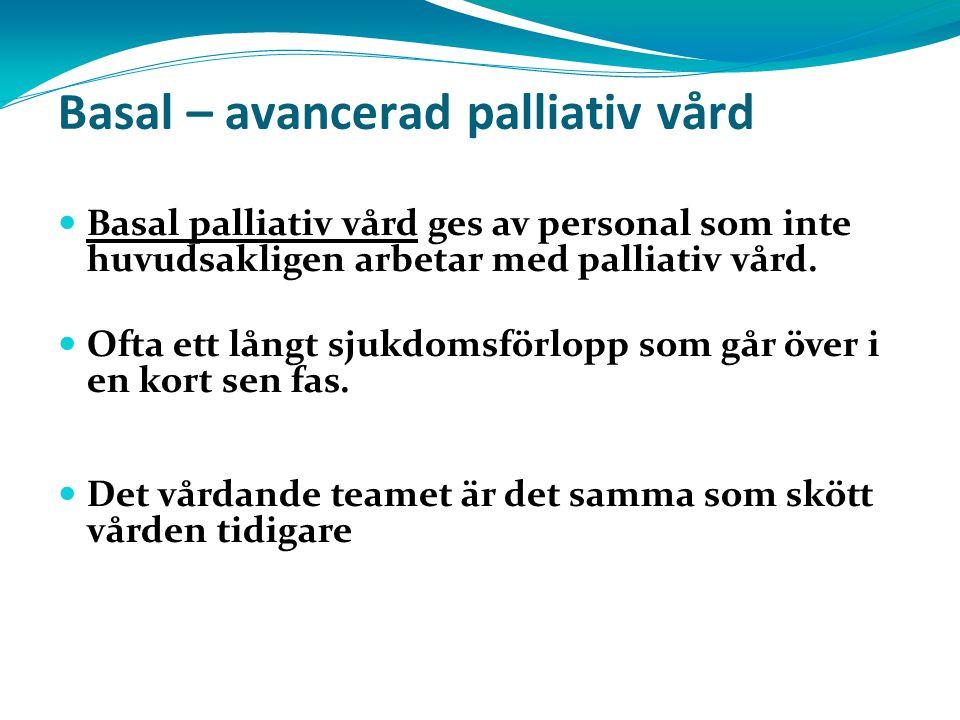 Basal – avancerad palliativ vård Basal palliativ vård ges av personal som inte huvudsakligen arbetar med palliativ vård. Ofta ett långt sjukdomsförlop