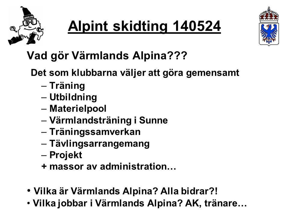 Vad gör Värmlands Alpina??? Det som klubbarna väljer att göra gemensamt – Träning – Utbildning – Materielpool – Värmlandsträning i Sunne – Träningssam