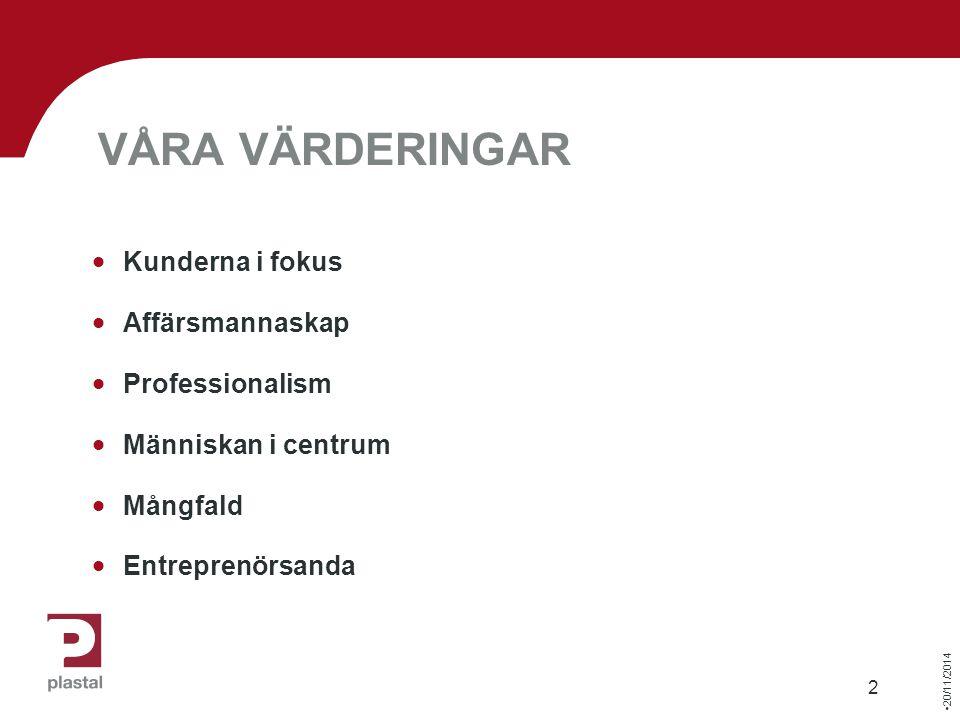 20/11/2014 2 VÅRA VÄRDERINGAR  Kunderna i fokus  Affärsmannaskap  Professionalism  Människan i centrum  Mångfald  Entreprenörsanda