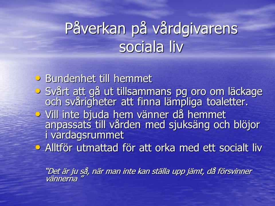 Påverkan på vårdgivarens sociala liv Bundenhet till hemmet Bundenhet till hemmet Svårt att gå ut tillsammans pg oro om läckage och svårigheter att finna lämpliga toaletter.