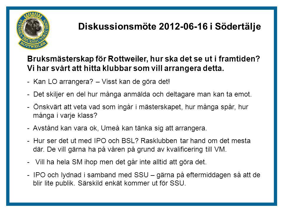 Diskussionsmöte 2012-06-16 i Södertälje Bruksmästerskap för Rottweiler, hur ska det se ut i framtiden.