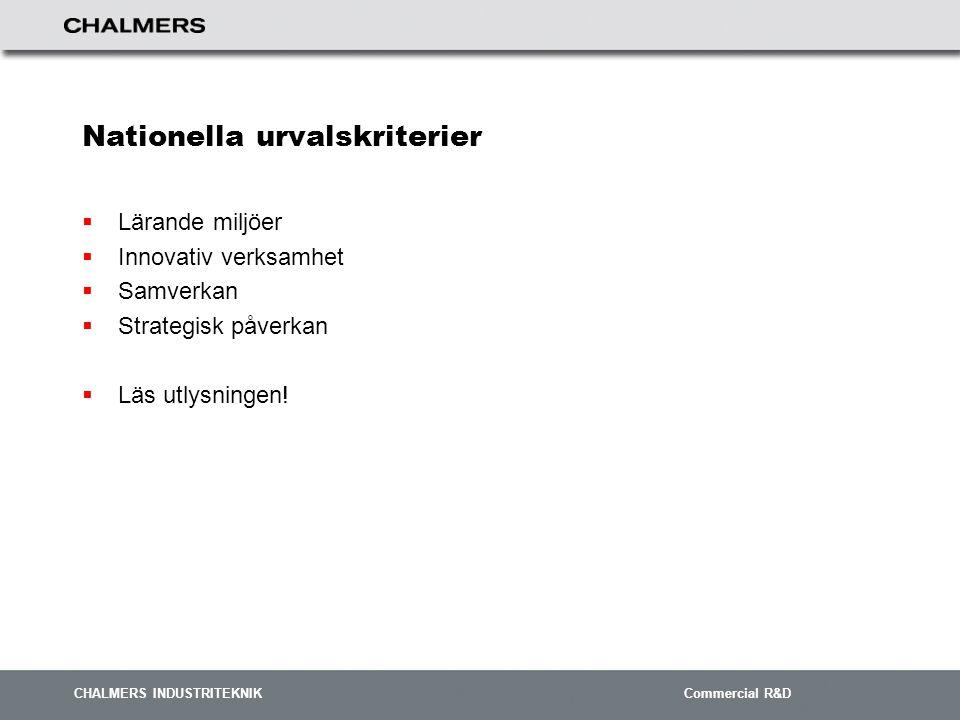 CHALMERS INDUSTRITEKNIK Commercial R&D Nationella urvalskriterier  Lärande miljöer  Innovativ verksamhet  Samverkan  Strategisk påverkan  Läs utlysningen!