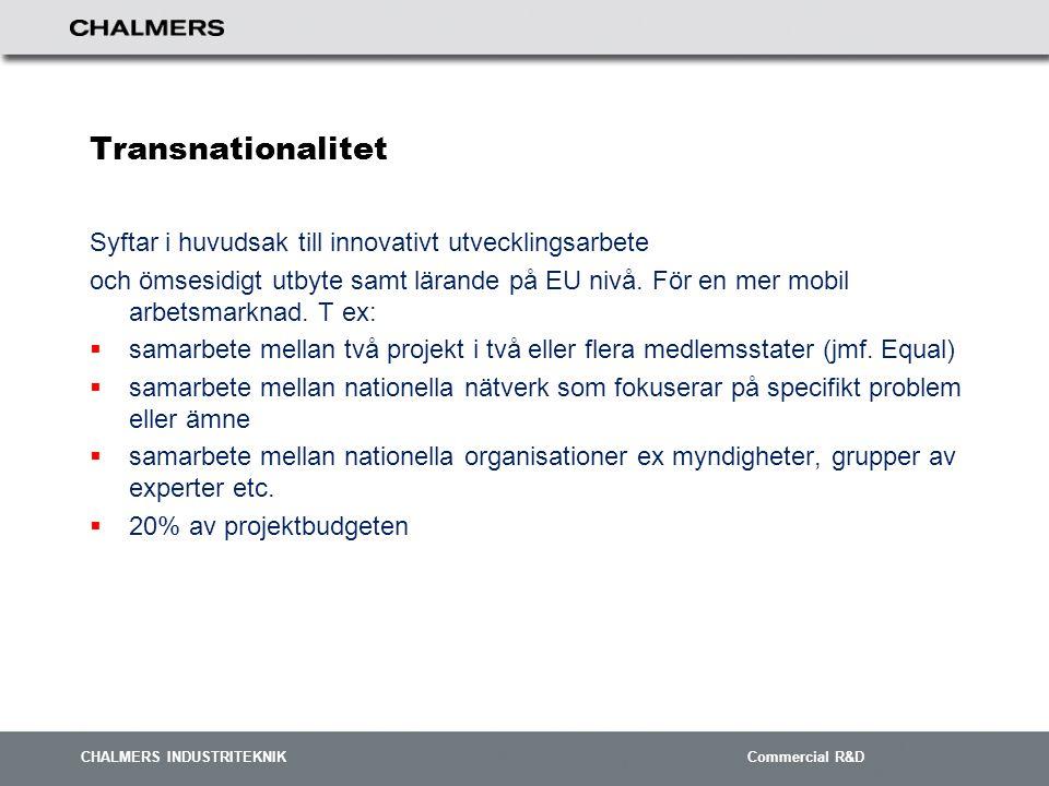 CHALMERS INDUSTRITEKNIK Commercial R&D Transnationalitet Syftar i huvudsak till innovativt utvecklingsarbete och ömsesidigt utbyte samt lärande på EU nivå.