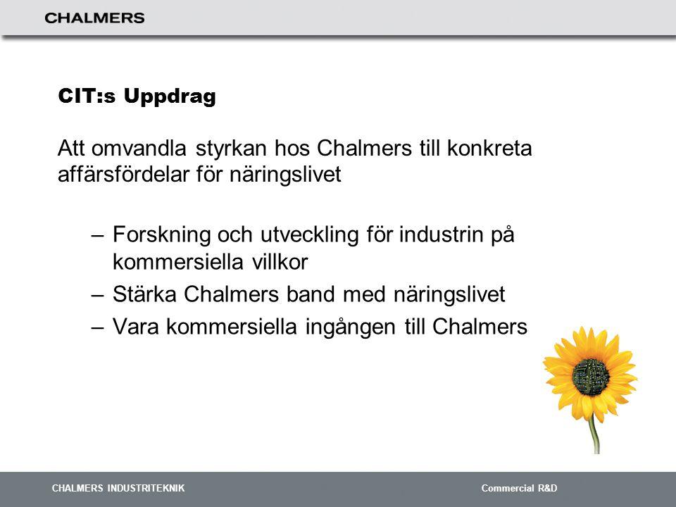 CHALMERS INDUSTRITEKNIK Commercial R&D Genomförande  I genomförandefasen omsätts resultatet av förprojekteringen i handling.