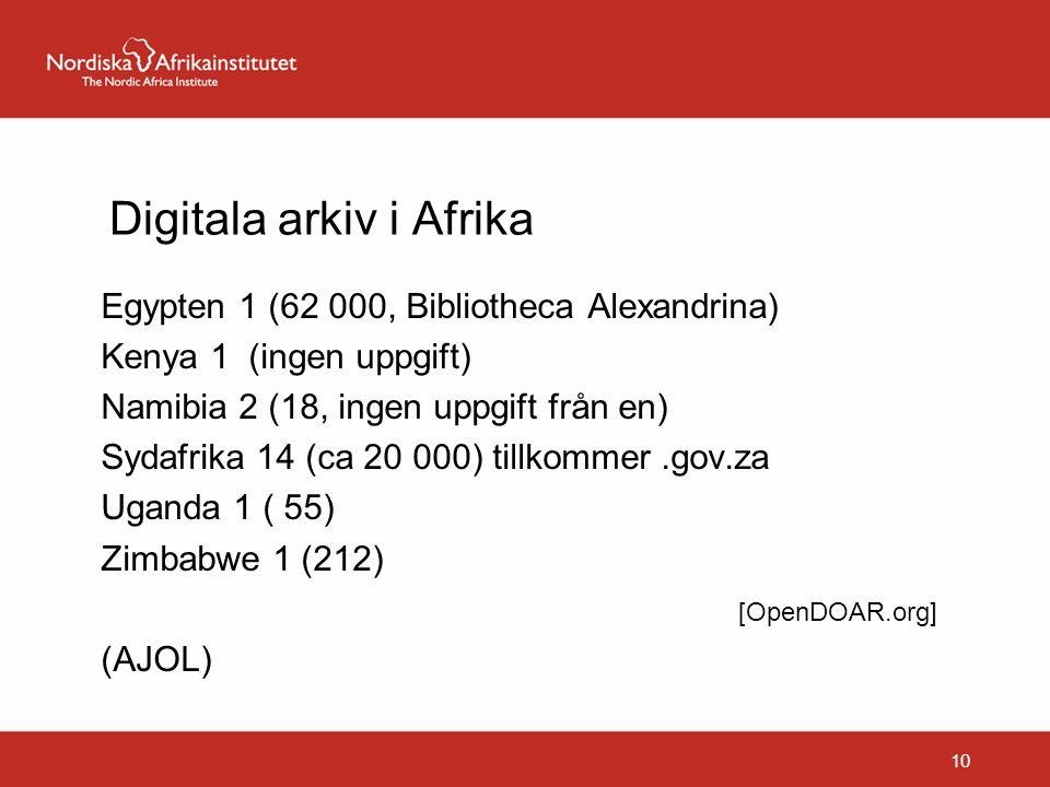 Digitala arkiv i Afrika Egypten 1 (62 000, Bibliotheca Alexandrina) Kenya 1 (ingen uppgift) Namibia 2 (18, ingen uppgift från en) Sydafrika 14 (ca 20 000) tillkommer.gov.za Uganda 1 ( 55) Zimbabwe 1 (212) [OpenDOAR.org] (AJOL) 10