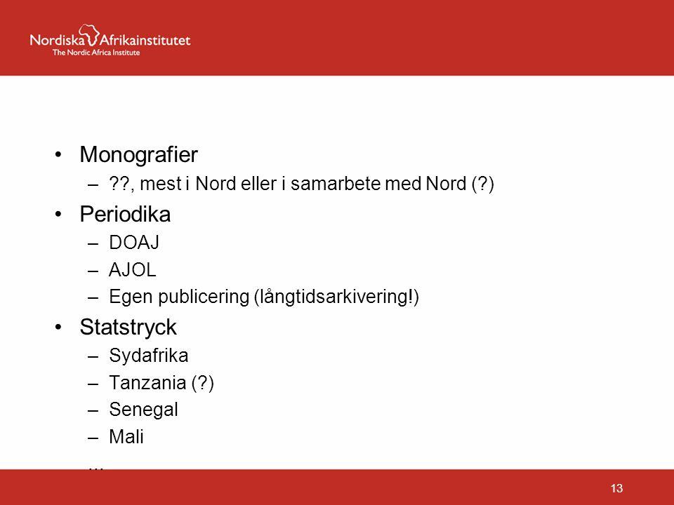 Monografier –??, mest i Nord eller i samarbete med Nord (?) Periodika –DOAJ –AJOL –Egen publicering (långtidsarkivering!) Statstryck –Sydafrika –Tanza