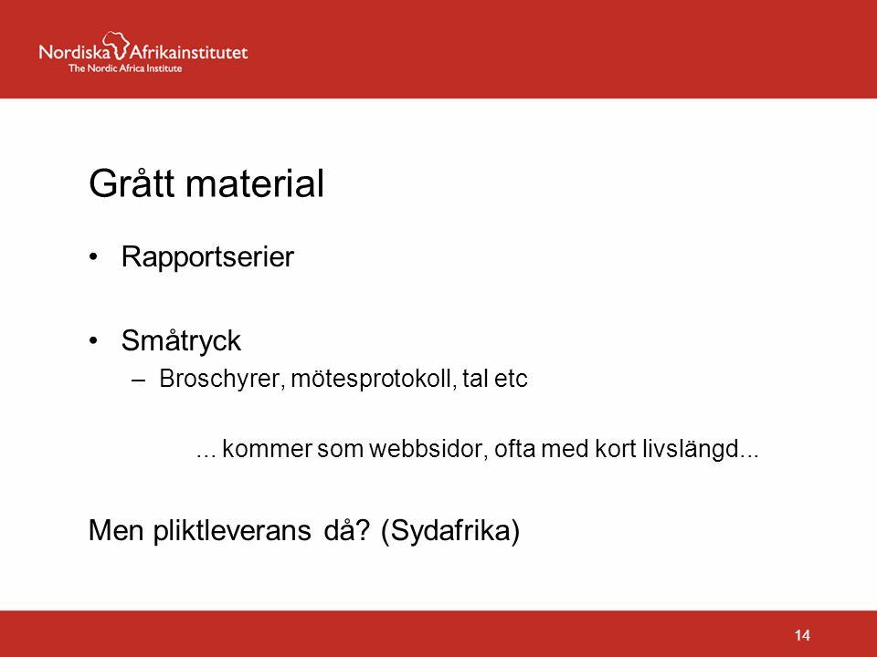 Grått material Rapportserier Småtryck –Broschyrer, mötesprotokoll, tal etc... kommer som webbsidor, ofta med kort livslängd... Men pliktleverans då? (