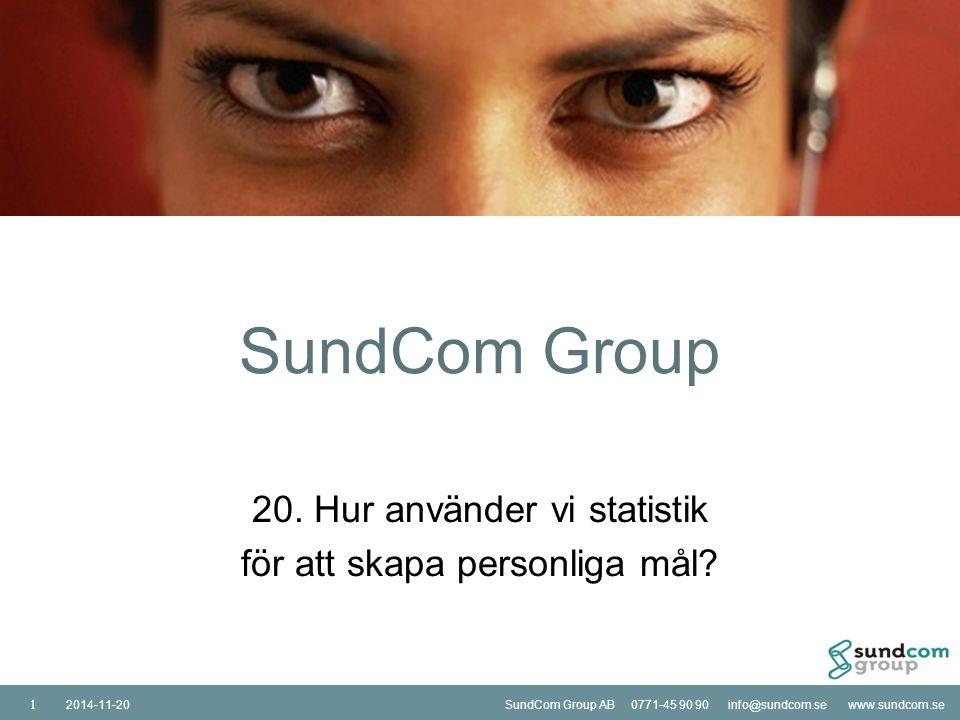 SundCom Group AB 0771-45 90 90 info@sundcom.se www.sundcom.se2014-11-20SundCom Group AB 0771-45 90 90 info@sundcom.se www.sundcom.se2014-11-20 12 Är telefonistmålsättningarna på grupp och/eller individnivå.