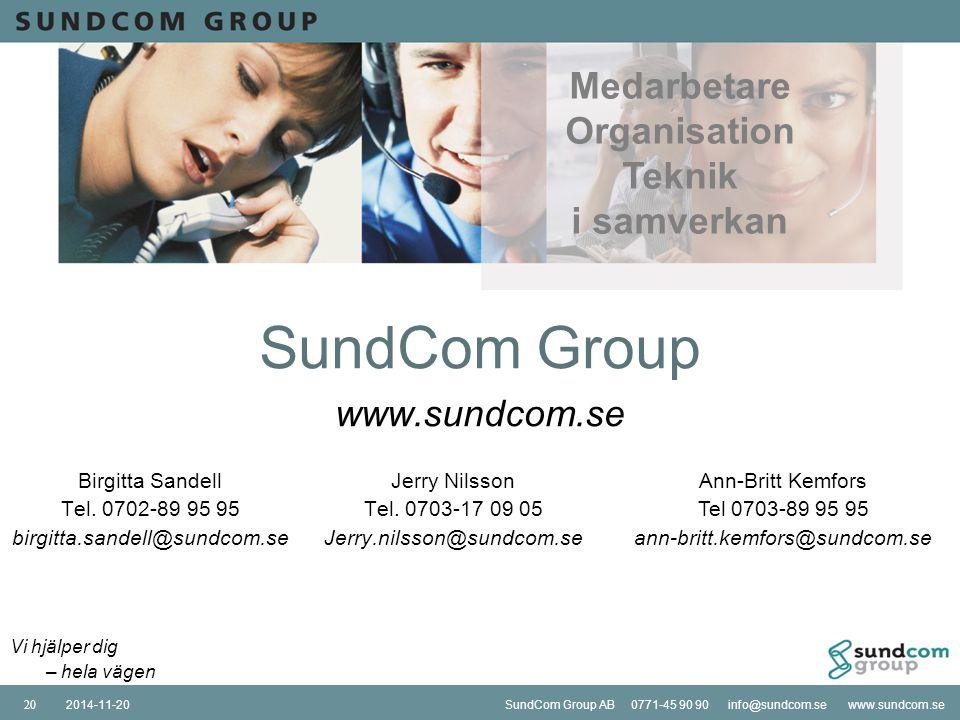 SundCom Group AB 0771-45 90 90 info@sundcom.se www.sundcom.se2014-11-20SundCom Group AB 0771-45 90 90 info@sundcom.se www.sundcom.se2014-11-2020 SundC