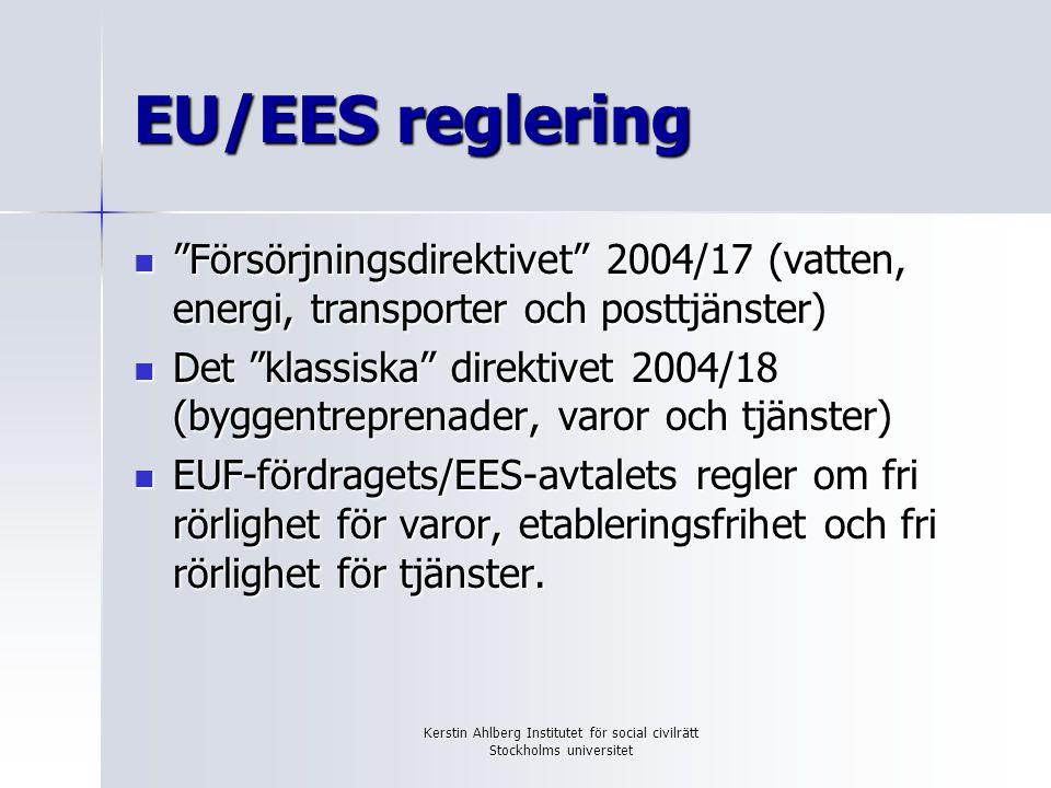 """Kerstin Ahlberg Institutet för social civilrätt Stockholms universitet EU/EES reglering """"Försörjningsdirektivet"""" 2004/17 (vatten, energi, transporter"""