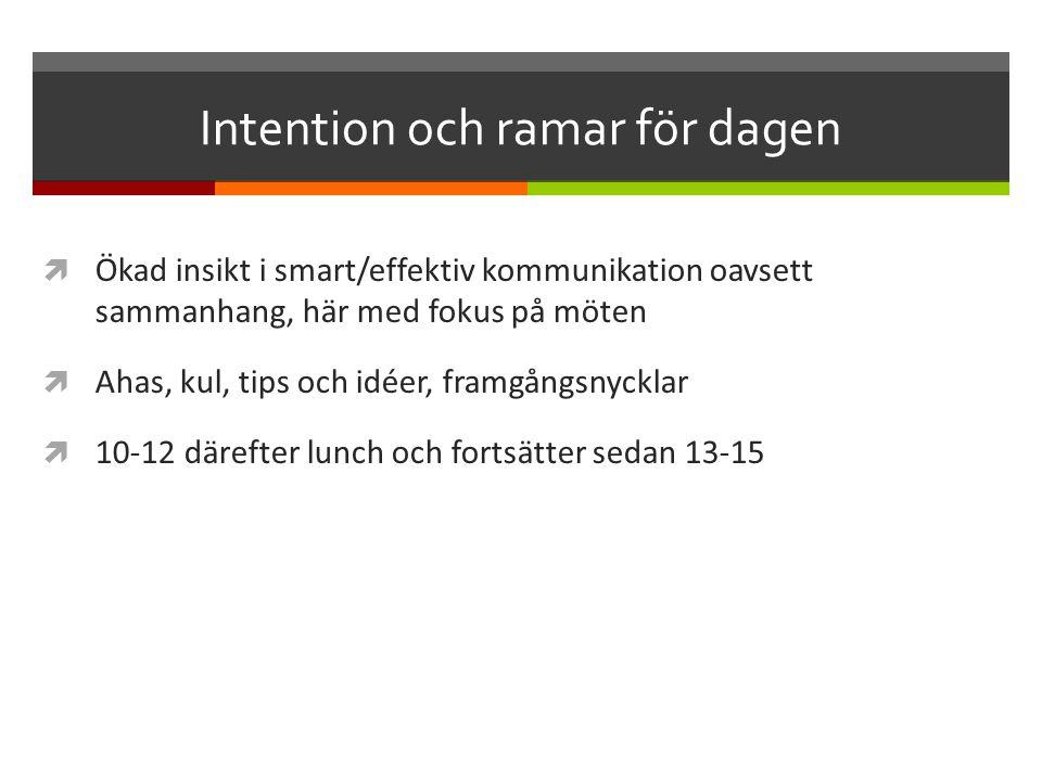 Intention och ramar för dagen  Ökad insikt i smart/effektiv kommunikation oavsett sammanhang, här med fokus på möten  Ahas, kul, tips och idéer, framgångsnycklar  10-12 därefter lunch och fortsätter sedan 13-15