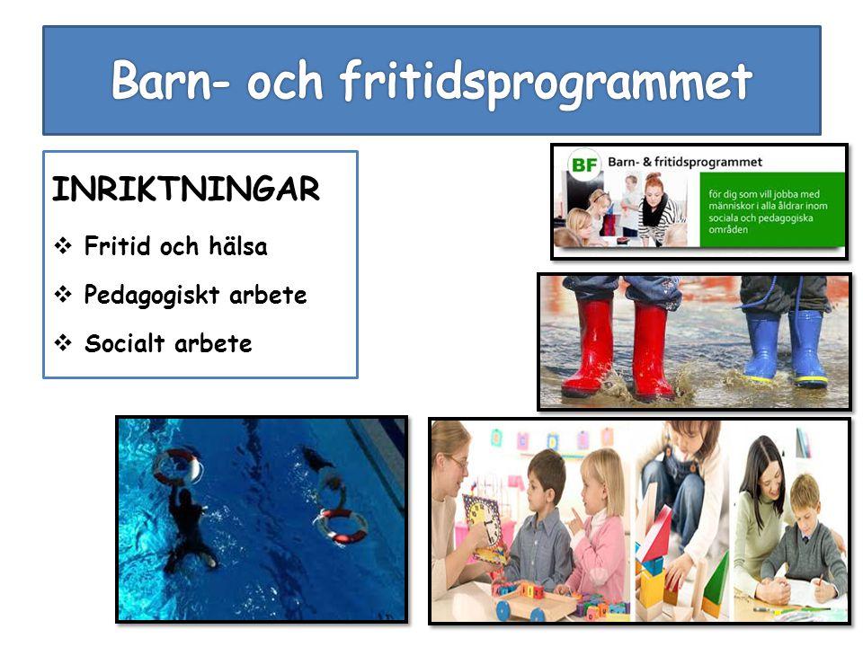 INRIKTNINGAR  Fritid och hälsa  Pedagogiskt arbete  Socialt arbete
