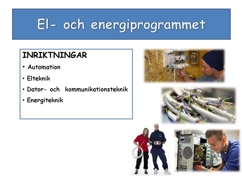 INRIKTNINGAR Automation Elteknik Dator- och kommunikationsteknik Energiteknik